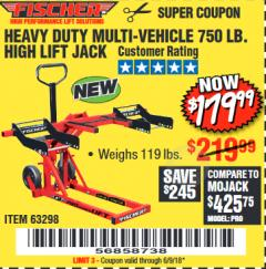 Harbor Freight Coupon 750LB. HEAVY DUTY ATV/MOWER HIGH LIFT JACK Lot No. 63298 Expired: 6/9/18 - $179.99