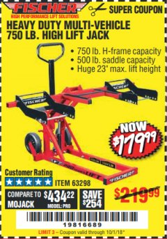 Harbor Freight Coupon 750LB. HEAVY DUTY ATV/MOWER HIGH LIFT JACK Lot No. 63298 Expired: 10/1/18 - $179.99