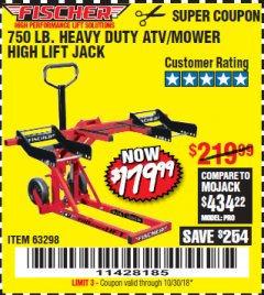 Harbor Freight Coupon 750LB. HEAVY DUTY ATV/MOWER HIGH LIFT JACK Lot No. 63298 Expired: 10/30/18 - $179.99