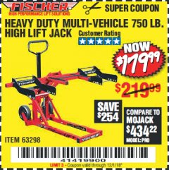 Harbor Freight Coupon 750LB. HEAVY DUTY ATV/MOWER HIGH LIFT JACK Lot No. 63298 Expired: 12/1/18 - $179.99