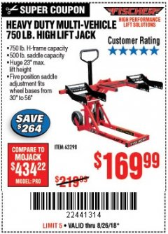 Harbor Freight Coupon 750LB. HEAVY DUTY ATV/MOWER HIGH LIFT JACK Lot No. 63298 Expired: 8/26/18 - $169.99