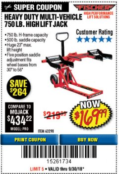 Harbor Freight Coupon 750LB. HEAVY DUTY ATV/MOWER HIGH LIFT JACK Lot No. 63298 Expired: 9/30/18 - $169.99