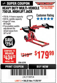 Harbor Freight Coupon 750LB. HEAVY DUTY ATV/MOWER HIGH LIFT JACK Lot No. 63298 Expired: 11/25/18 - $179.99