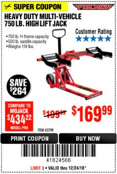 Harbor Freight Coupon 750LB. HEAVY DUTY ATV/MOWER HIGH LIFT JACK Lot No. 63298 Expired: 12/24/18 - $169.99