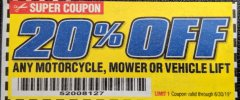Harbor Freight Coupon 750LB. HEAVY DUTY ATV/MOWER HIGH LIFT JACK Lot No. 63298 Expired: 6/30/19 - $159.99