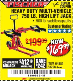Harbor Freight Coupon 750LB. HEAVY DUTY ATV/MOWER HIGH LIFT JACK Lot No. 63298 Expired: 2/4/20 - $169.99