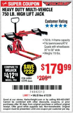 Harbor Freight Coupon 750LB. HEAVY DUTY ATV/MOWER HIGH LIFT JACK Lot No. 63298 Expired: 6/30/20 - $179.99