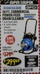 Harbor Freight Coupon 50 FT. COMMERCIAL POWER-FEED DRAIN CLEANER Lot No. 68284/61857 Valid: 12/29/17 2/28/18 - $299.69
