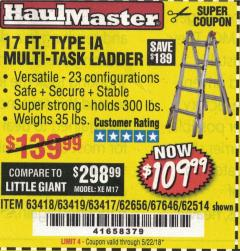 Harbor Freight Coupon 17' TYPE IA MULTI-TASK LADDER FOLDING Lot No. 63418/63419/63417/62656/62514 Valid: 1/1/18 5/22/18 - $109.99