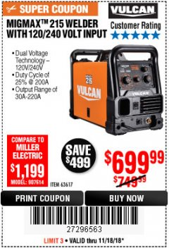 Harbor Freight Coupon VULCAN MIGMAX 215A WELDER Lot No. 63617 Expired: 11/18/18 - $699.99