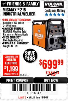 Harbor Freight Coupon VULCAN MIGMAX 215A WELDER Lot No. 63617 Expired: 12/9/18 - $699.99