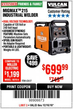 Harbor Freight Coupon VULCAN MIGMAX 215A WELDER Lot No. 63617 Expired: 12/16/18 - $699.99