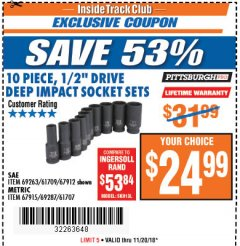 "Harbor Freight ITC Coupon 10 PIECE, 1/2"" DRIVE IMPACT DEEP SOCKET SETS Lot No. 69263/61709/67912/67915/69287/61707 Expired: 11/20/18 - $24.99"