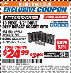 "Harbor Freight ITC Coupon 10 PIECE, 1/2"" DRIVE IMPACT DEEP SOCKET SETS Lot No. 69263/61709/67912/67915/69287/61707 Dates Valid: 12/31/69 - 2/28/19 - $24.99"