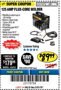 Harbor Freight Coupon 125 AMP FLUX-CORE WELDER Lot No. 63583/63582 Expired: 5/31/18 - $89.99