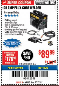 Harbor Freight Coupon 125 AMP FLUX-CORE WELDER Lot No. 63583/63582 Expired: 5/27/18 - $89.99
