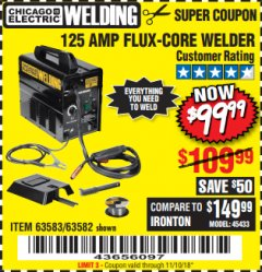 Harbor Freight Coupon 125 AMP FLUX-CORE WELDER Lot No. 63583/63582 Expired: 11/10/18 - $99.99