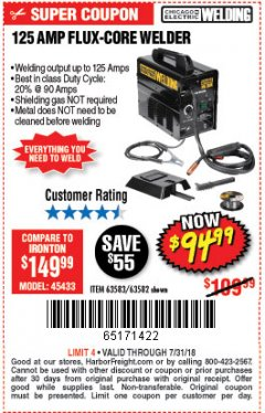 Harbor Freight Coupon 125 AMP FLUX-CORE WELDER Lot No. 63583/63582 Expired: 7/31/18 - $94.99