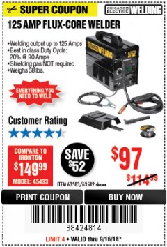 Harbor Freight Coupon 125 AMP FLUX-CORE WELDER Lot No. 63583/63582 Expired: 9/16/18 - $97