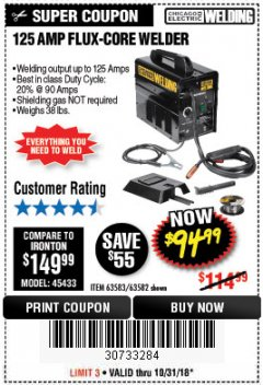 Harbor Freight Coupon 125 AMP FLUX-CORE WELDER Lot No. 63583/63582 Expired: 10/31/18 - $94.99