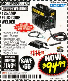 Harbor Freight Coupon 125 AMP FLUX-CORE WELDER Lot No. 63583/63582 Expired: 11/30/18 - $94.99
