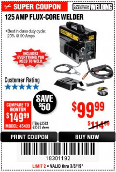 Harbor Freight Coupon 125 AMP FLUX-CORE WELDER Lot No. 63583/63582 Expired: 3/3/19 - $99.99
