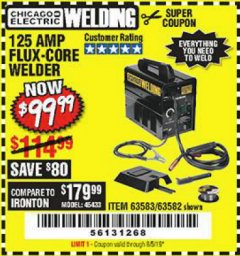 Harbor Freight Coupon 125 AMP FLUX-CORE WELDER Lot No. 63583/63582 Valid Thru: 8/5/19 - $99.99