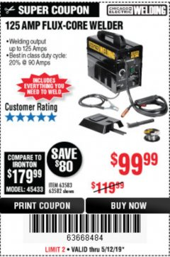 Harbor Freight Coupon 125 AMP FLUX-CORE WELDER Lot No. 63583/63582 Expired: 5/12/19 - $99.99