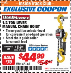 Harbor Freight ITC Coupon 1/4 TON LEVER MANUAL CHAIN HOIST Lot No. 67144 Expired: 2/29/20 - $44.99