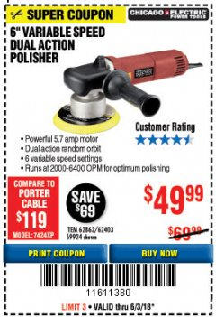 "Harbor Freight Coupon 6"" VARIABLE SPEED DUAL ACTION POLISHER Lot No. 69924/62403/62862 Expired: 6/3/18 - $49.99"