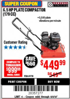Harbor Freight Coupon 6.5 HP PLATE COMPACTOR (179 CC) Lot No. 66571/69738 Expired: 6/4/18 - $449.99