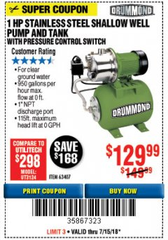 Harbor Freight Coupon 1 HP STAINLESS STEEL SHALLOW WELL PUMP AND TANK WITH PRESSURE CONTROL SWITCH Lot No. 63407 Expired: 7/15/18 - $129.99