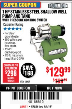 Harbor Freight Coupon 1 HP STAINLESS STEEL SHALLOW WELL PUMP AND TANK WITH PRESSURE CONTROL SWITCH Lot No. 63407 Expired: 4/1/19 - $129.99