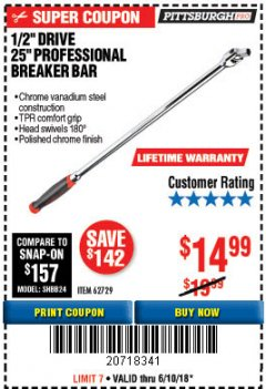 "Harbor Freight Coupon 1/2"" DRIVE 25"" PROFESSIONAL BREAKER BAR Lot No. 62729 Expired: 6/10/18 - $14.99"