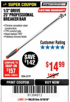 "Harbor Freight Coupon 1/2"" DRIVE 25"" PROFESSIONAL BREAKER BAR Lot No. 62729 Expired: 9/16/18 - $14.99"