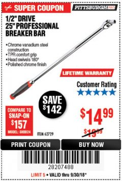 "Harbor Freight Coupon 1/2"" DRIVE 25"" PROFESSIONAL BREAKER BAR Lot No. 62729 Expired: 9/30/18 - $14.99"