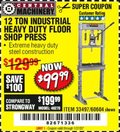 Harbor Freight Coupon 12 TON SHOP PRESS Lot No. 33497/60604 Valid Thru: 1/27/20 - $99.99