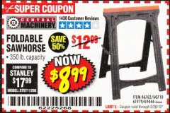 Harbor Freight Coupon FOLDABLE SAWHORSE Lot No. 60710/61979/69446 EXPIRES: 2/28/19 - $8.99