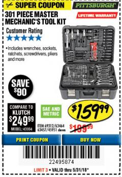 Harbor Freight Coupon 301 PIECE MASTER MECHANIC'S TOOL KIT Lot No. 69312/63464/63457/45951 Expired: 5/31/18 - $159.99