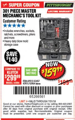 Harbor Freight Coupon 301 PIECE MASTER MECHANIC'S TOOL KIT Lot No. 69312/63464/63457/45951 Expired: 7/31/18 - $159.99