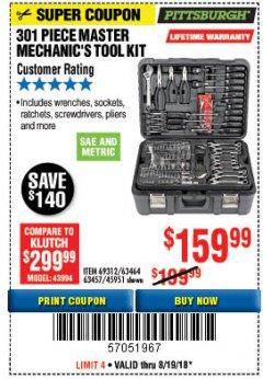 Harbor Freight Coupon 301 PIECE MASTER MECHANIC'S TOOL KIT Lot No. 69312/63464/63457/45951 Expired: 8/19/18 - $159.99