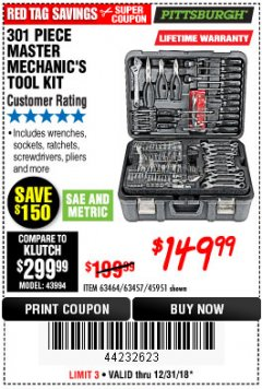 Harbor Freight Coupon 301 PIECE MASTER MECHANIC'S TOOL KIT Lot No. 69312/63464/63457/45951 Expired: 12/31/18 - $149.99