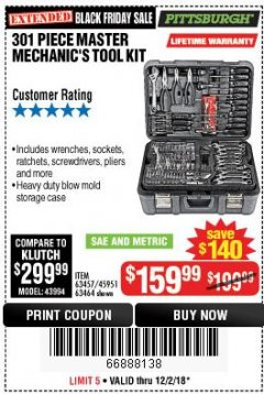 Harbor Freight Coupon 301 PIECE MASTER MECHANIC'S TOOL KIT Lot No. 69312/63464/63457/45951 Expired: 12/2/18 - $159.99