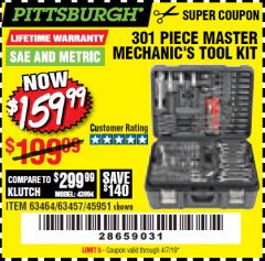 Harbor Freight Coupon 301 PIECE MASTER MECHANIC'S TOOL KIT Lot No. 69312/63464/63457/45951 Expired: 4/7/19 - $159.99
