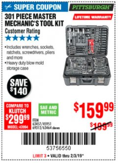 Harbor Freight Coupon 301 PIECE MASTER MECHANIC'S TOOL KIT Lot No. 69312/63464/63457/45951 Expired: 2/3/19 - $159.99