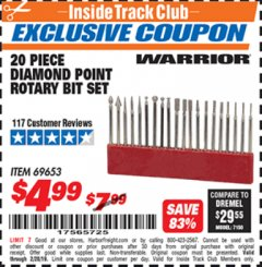 Harbor Freight ITC Coupon 20 PIECE DIAMOND POINT ROTARY BIT SET Lot No. 69653 Dates Valid: 12/31/69 - 2/28/19 - $4.99