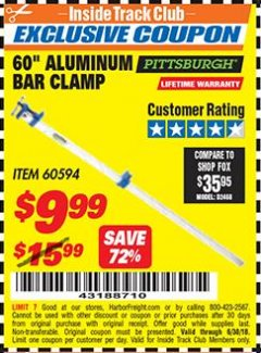 "Harbor Freight ITC Coupon 60"" ALUMINIUM BAR CLAMP Lot No. 60594 Expired: 6/30/18 - $9.99"