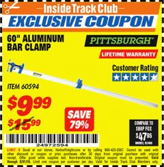 "Harbor Freight ITC Coupon 60"" ALUMINIUM BAR CLAMP Lot No. 60594 Expired: 8/31/18 - $9.99"