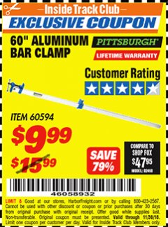 "Harbor Freight ITC Coupon 60"" ALUMINIUM BAR CLAMP Lot No. 60594 Expired: 11/30/18 - $9.99"