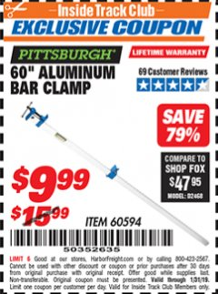 "Harbor Freight ITC Coupon 60"" ALUMINIUM BAR CLAMP Lot No. 60594 Expired: 1/31/19 - $9.99"